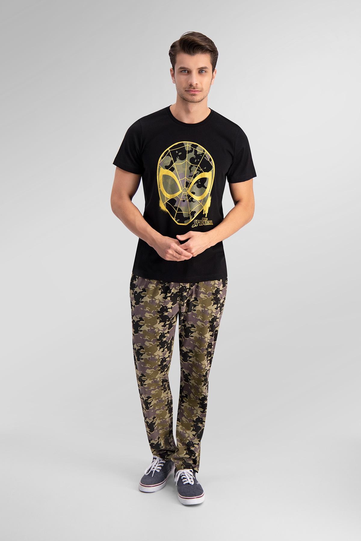 Spider Man Lisanslı Siyah Baba Oğul Pijama Takımı (1)