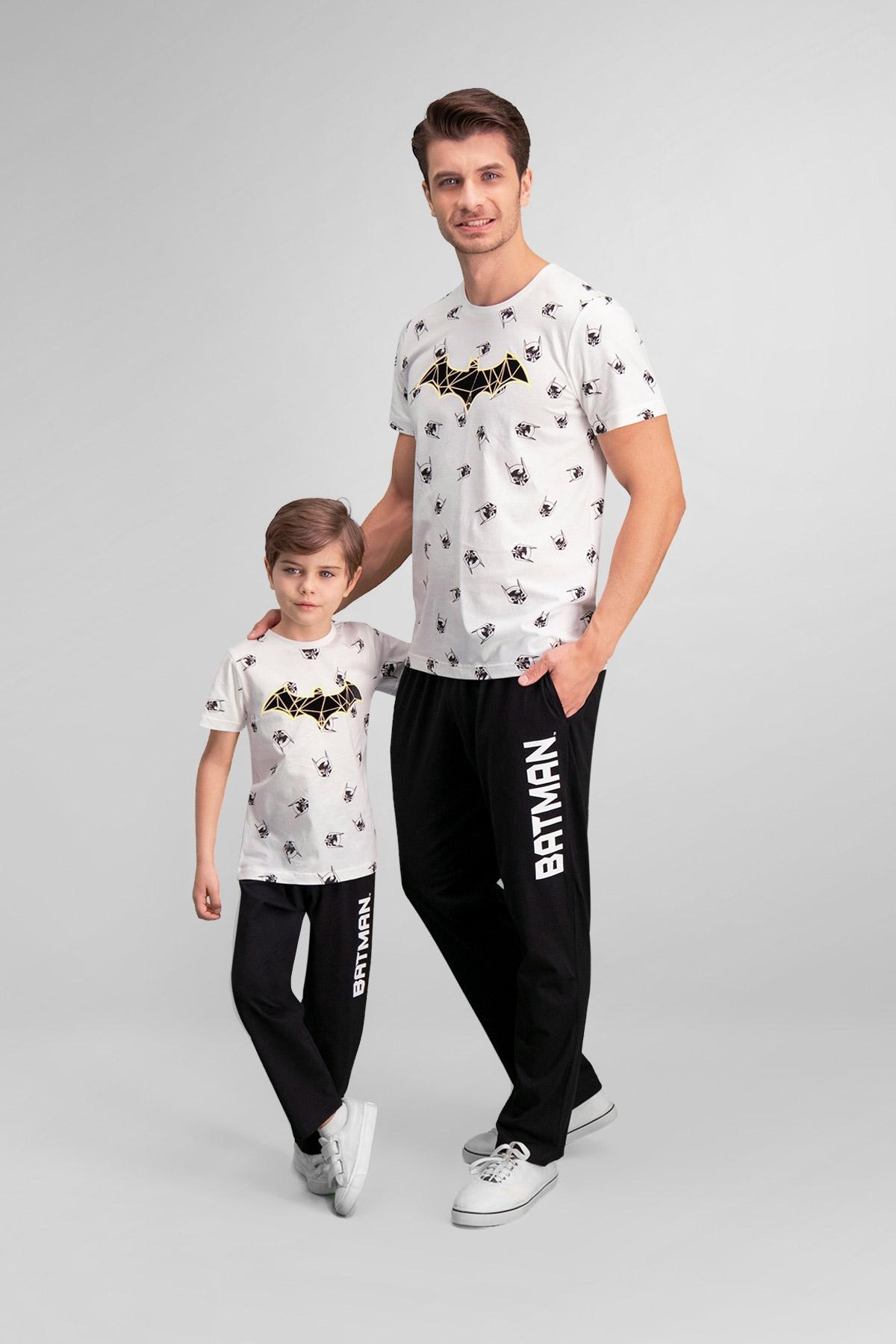 Batman Lisanslı Krem Baba Oğul Pijama Takımı