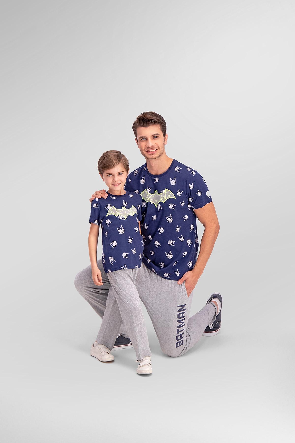Batman Lisanslı Lacivert Baba Oğul Pijama Takımı