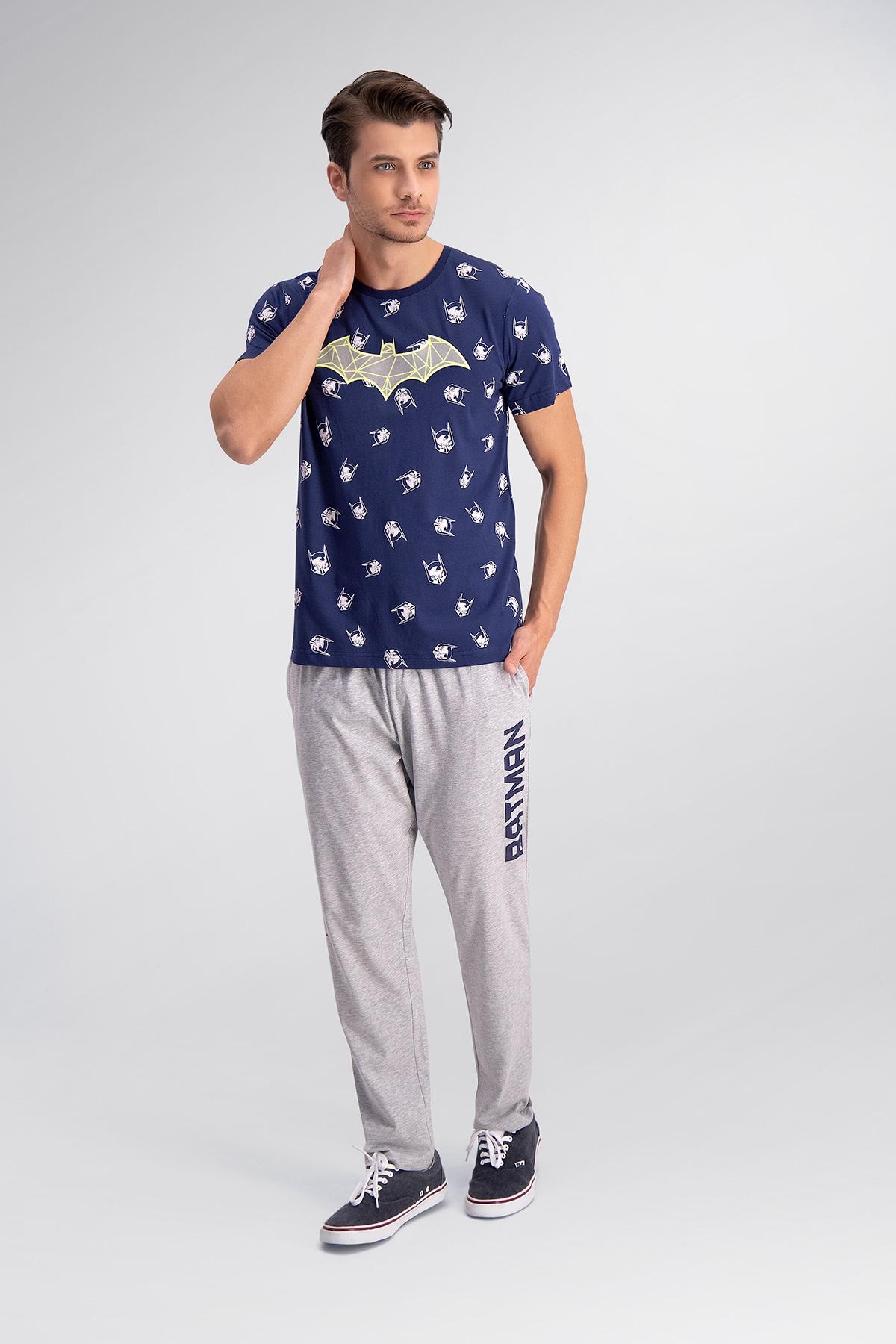 Batman Lisanslı Lacivert Baba Oğul Pijama Takımı (1)