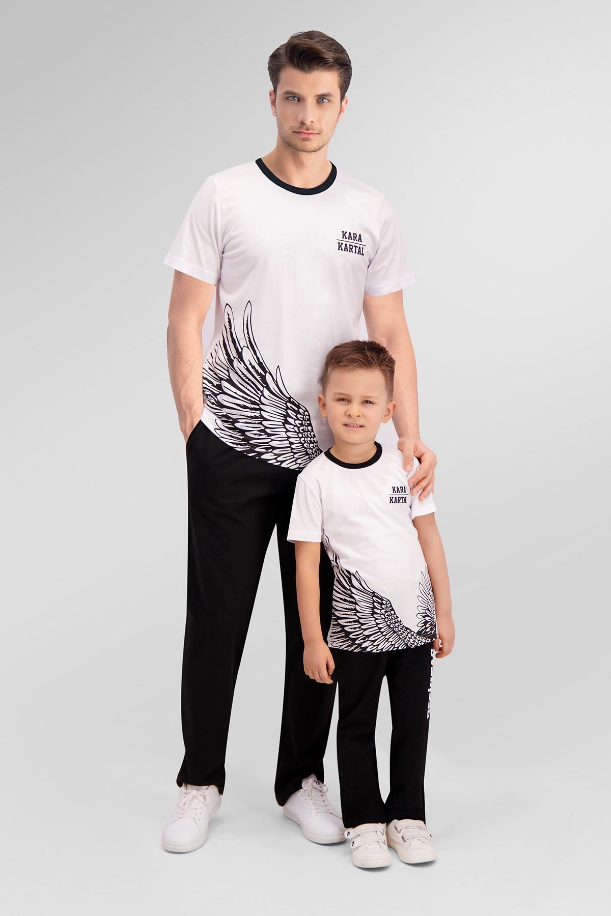 Beşiktaş Lisanslı Beyaz Baba Oğul Pijama Takımı