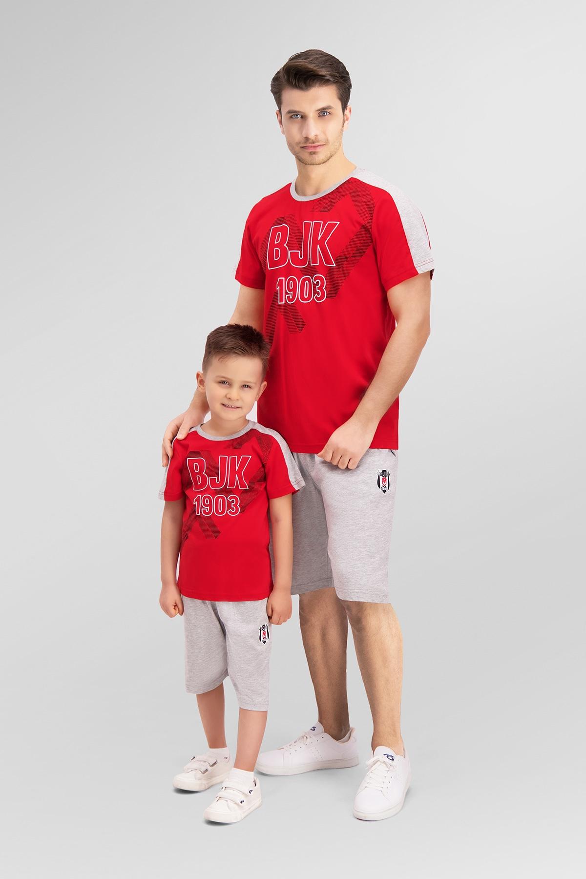 Beşiktaş Lisanslı Kırmızı Baba Oğul Bermuda Takım