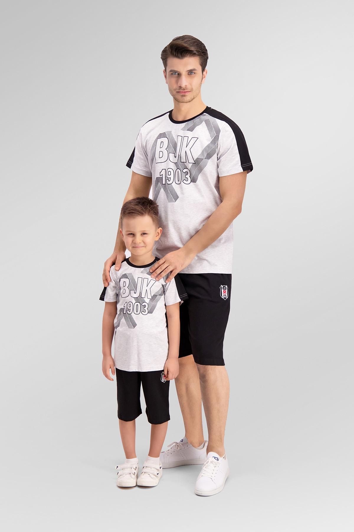 Beşiktaş Lisanslı Açık Gri Baba Oğul Bermuda Takım
