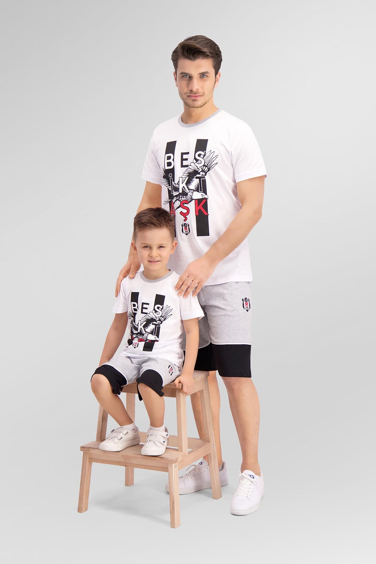 Beşiktaş Lisanslı Beyaz Baba Oğul Bermuda Takım