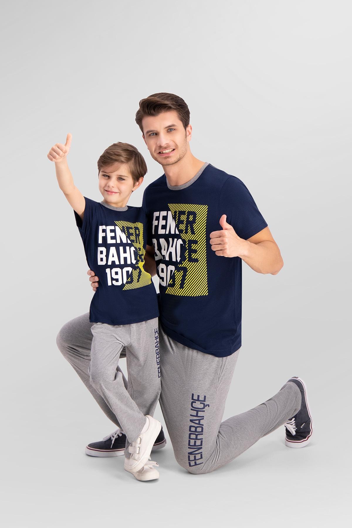 Fenerbahçe Lisanslı Lacivert Baba Oğul Pijama Takımı