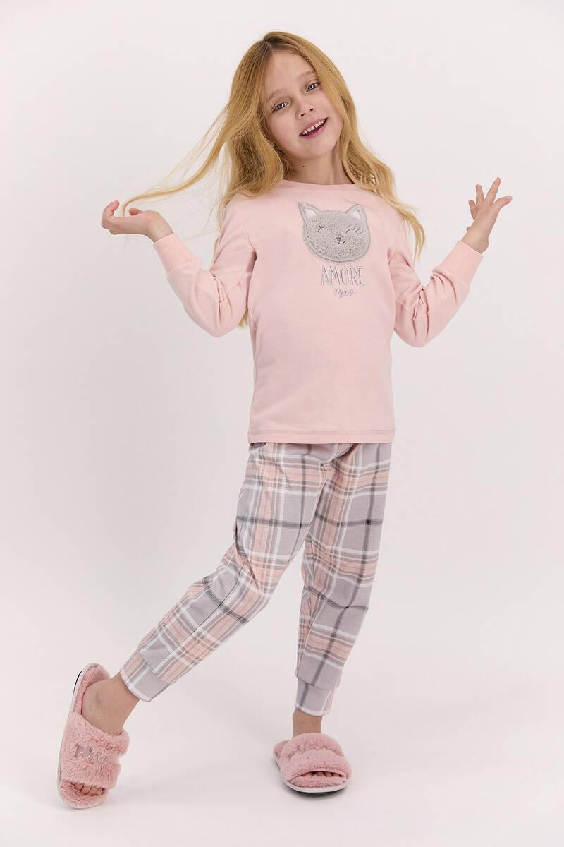 Arnetta - Arnetta Amore Pudra Ekose Kız Çocuk Uzun Kol Pijama Takımı