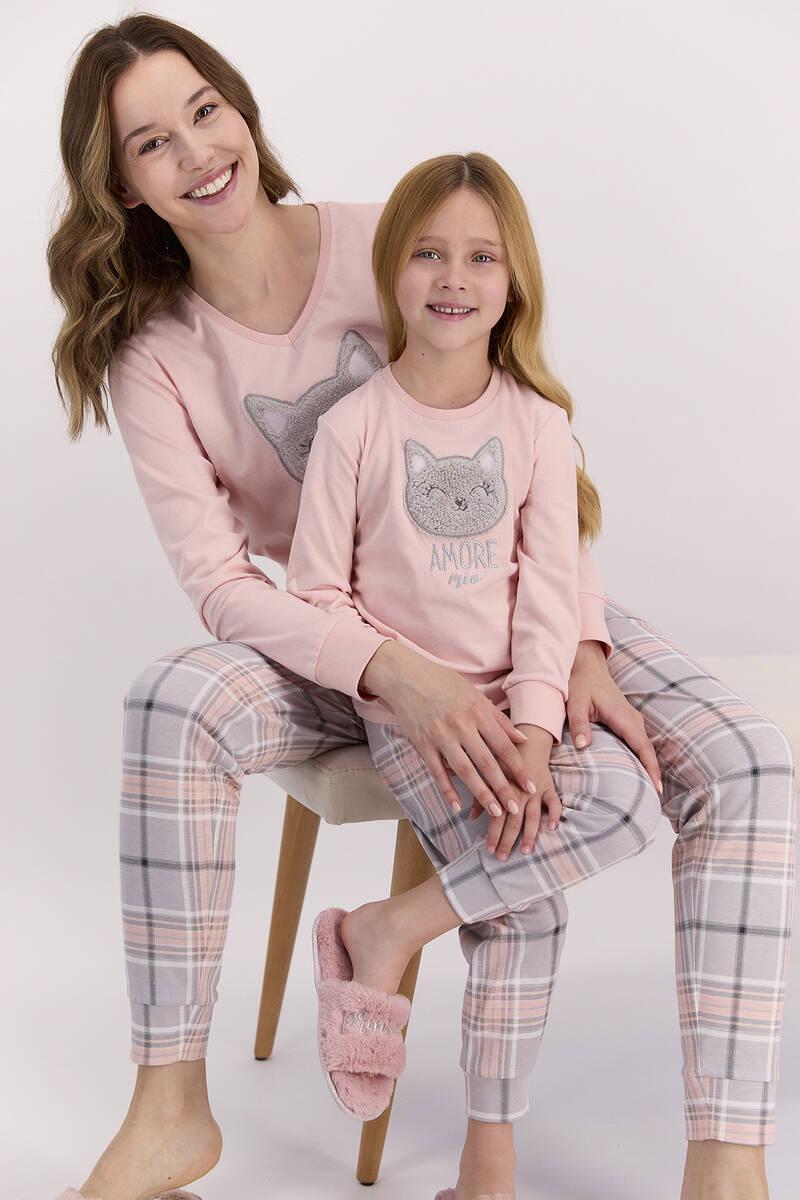 Arnetta - Arnetta Amore Pudra Ekose Kız Çocuk Uzun Kol Pijama Takımı (1)