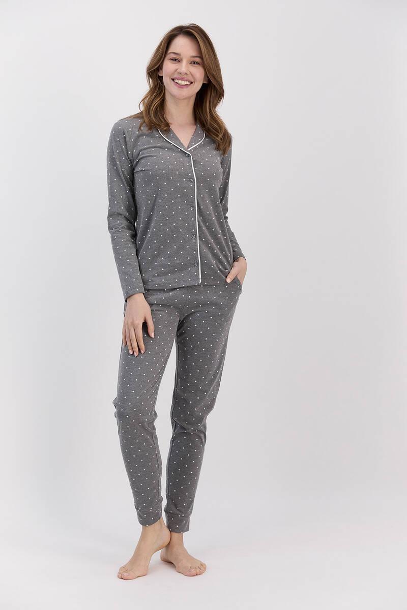 Arnetta - Arnetta Antrasitmelanj Puantiyeli Kadın Gömlek Pijama Takımı