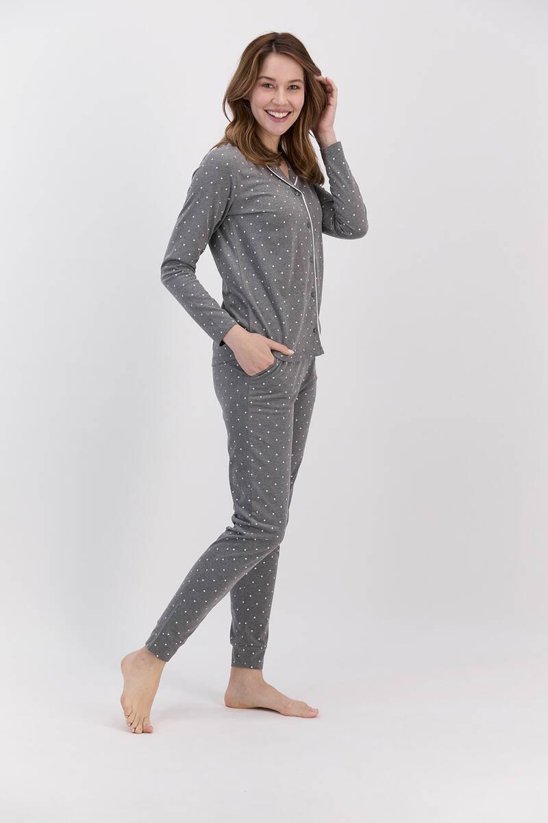 Arnetta - Arnetta Antrasitmelanj Puantiyeli Kadın Gömlek Pijama Takımı (1)