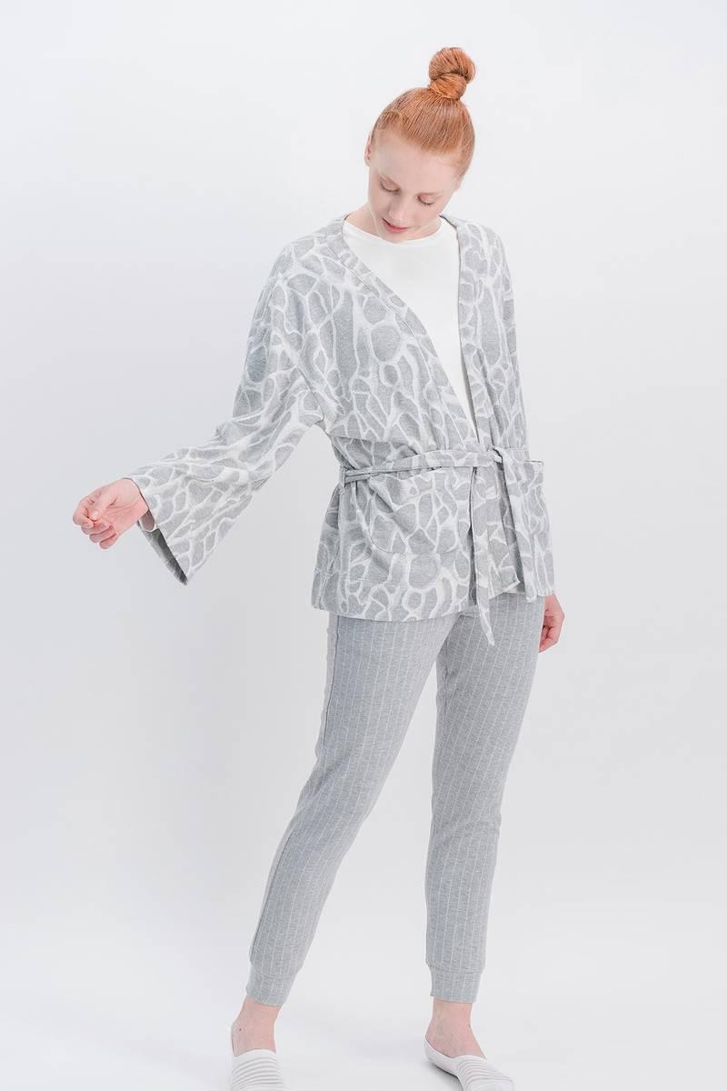 Arnetta - Arnetta Basic Animal Krem Kadın Pantolon, Bluz, Hırka 3'Lü Takım