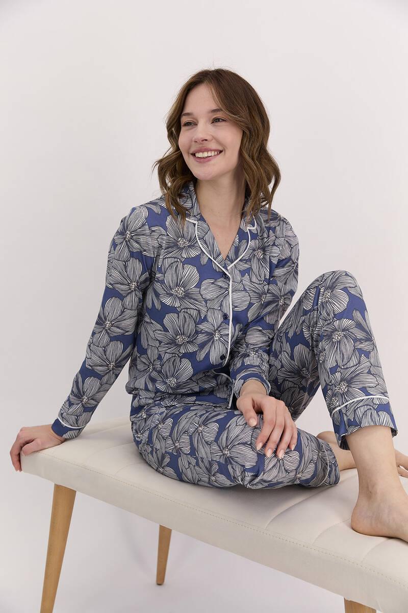Arnetta - Arnetta Çiçek Desenli İndigo Kadın Gömlek Pijama Takımı (1)