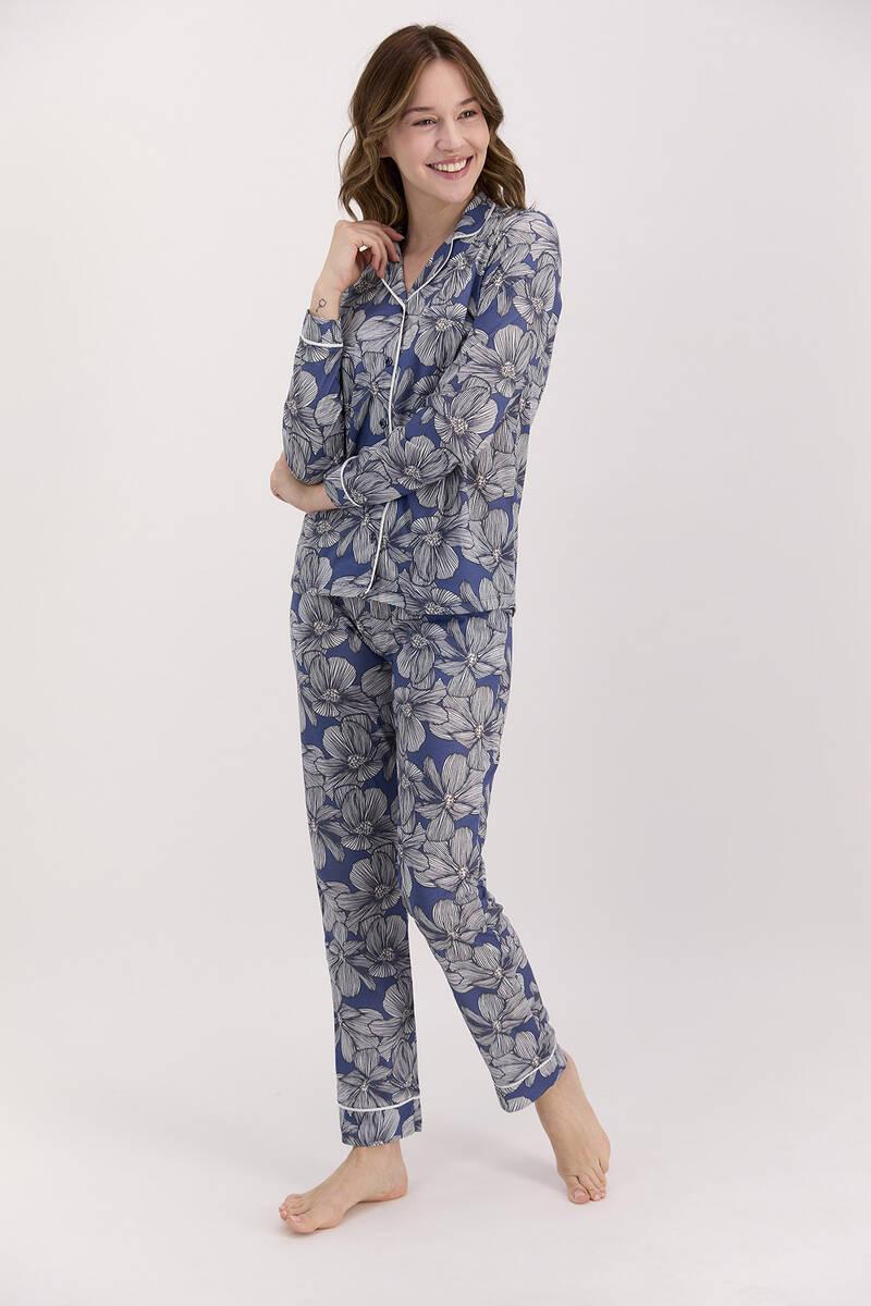 Arnetta - Arnetta Çiçek Desenli İndigo Kadın Gömlek Pijama Takımı