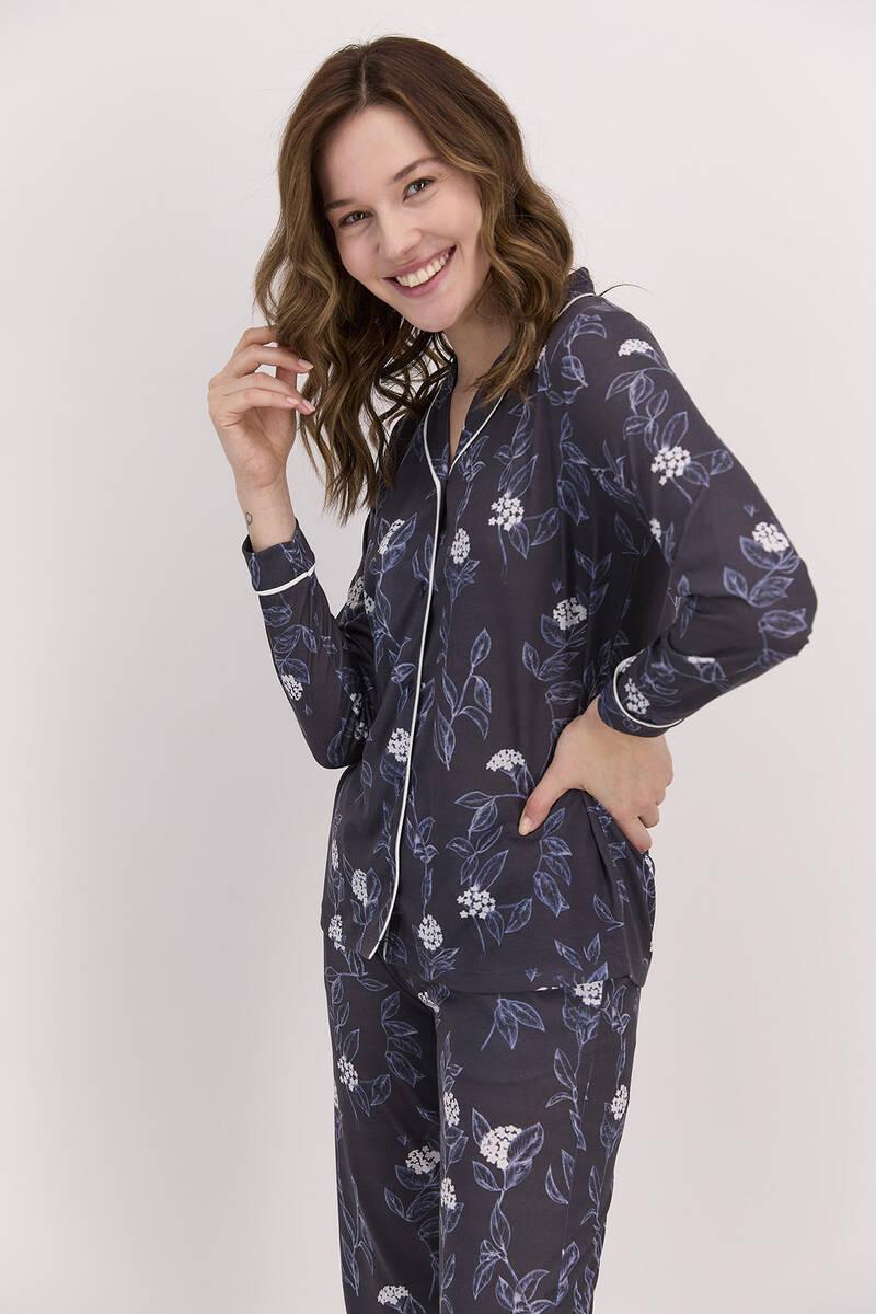 Arnetta - Arnetta Çiçekli Lacivert Kadın Gömlek Pijama Takımı (1)