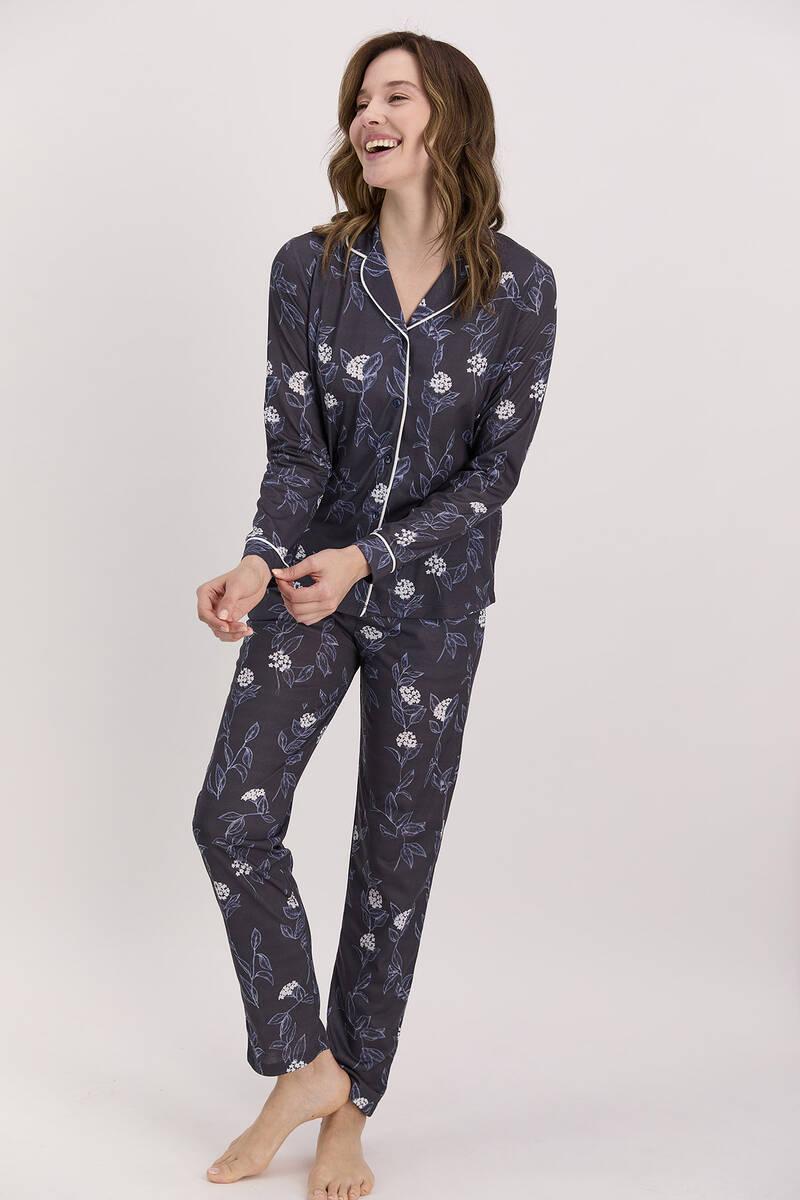 Arnetta - Arnetta Çiçekli Lacivert Kadın Gömlek Pijama Takımı