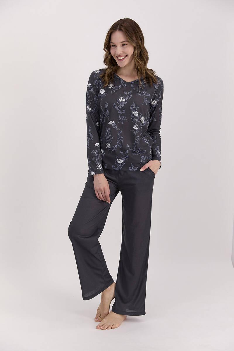 Arnetta - Arnetta Çiçekli Lacivert Kadın Uzun Kol Pijama Takımı