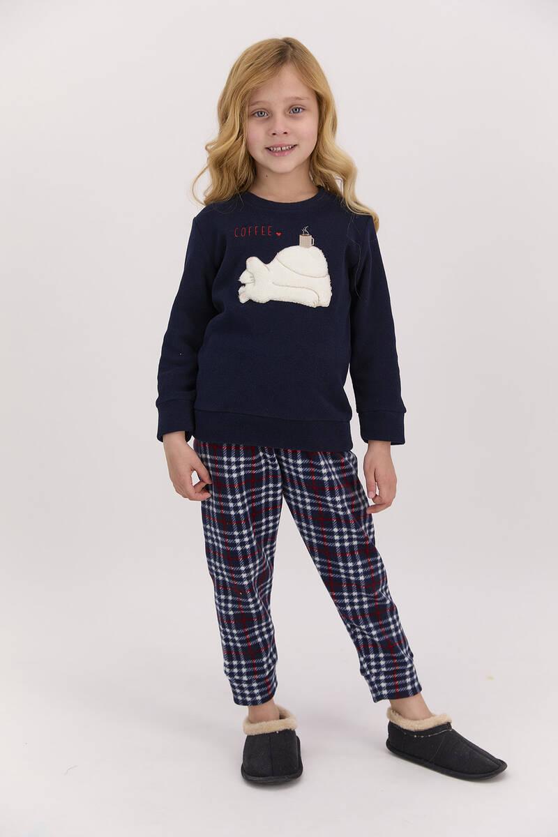 Arnetta - Arnetta Coffee Ekoseli Lacivert Kız Çocuk Polar Pijama Takımı