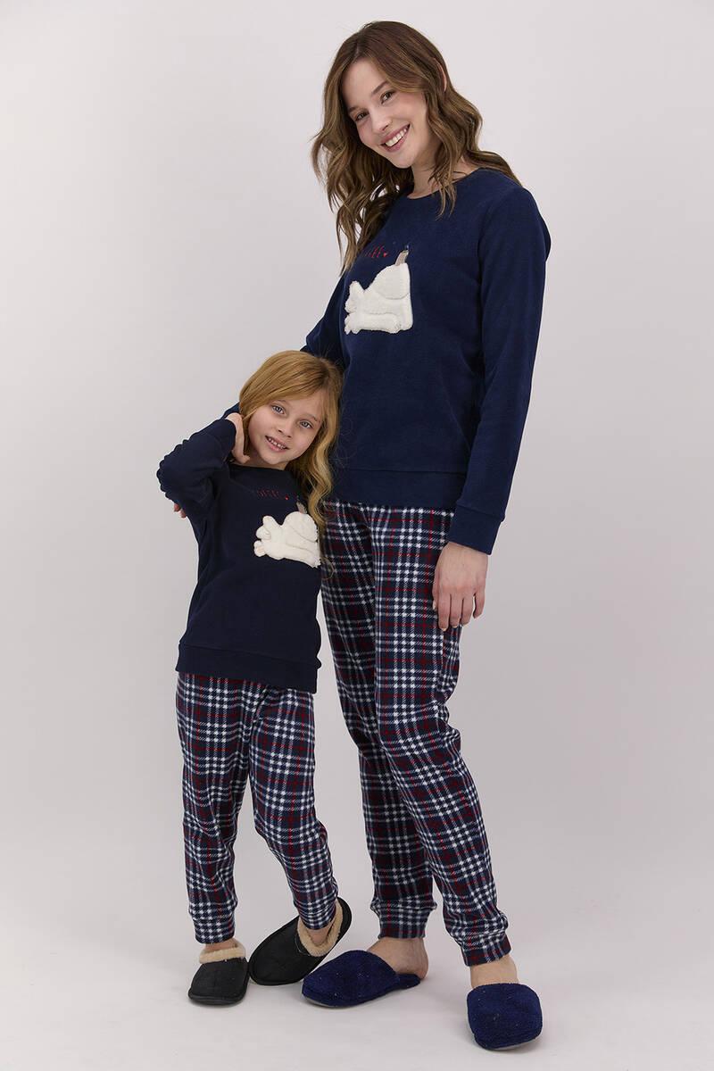 Arnetta - Arnetta Coffee Ekoseli Lacivert Kız Çocuk Polar Pijama Takımı (1)