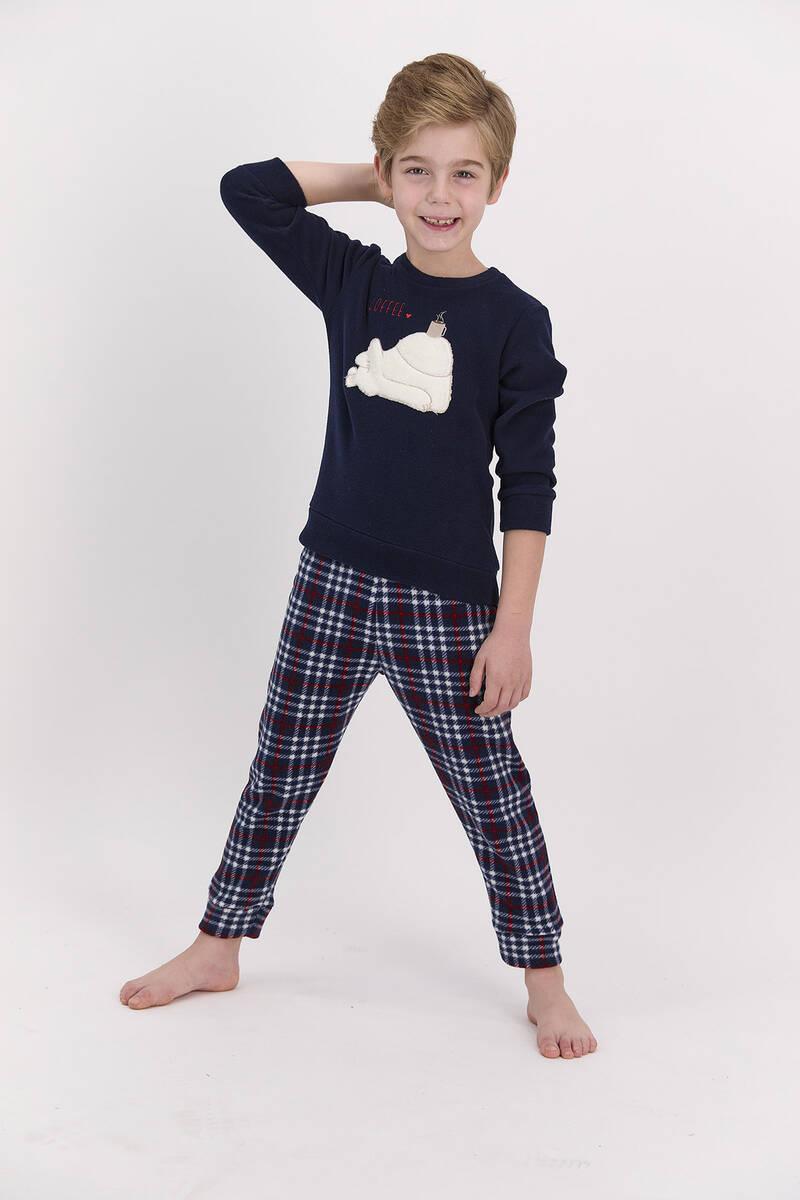 Arnetta - Arnetta Coffee Lacivert Erkek Çocuk Pijama Takımı