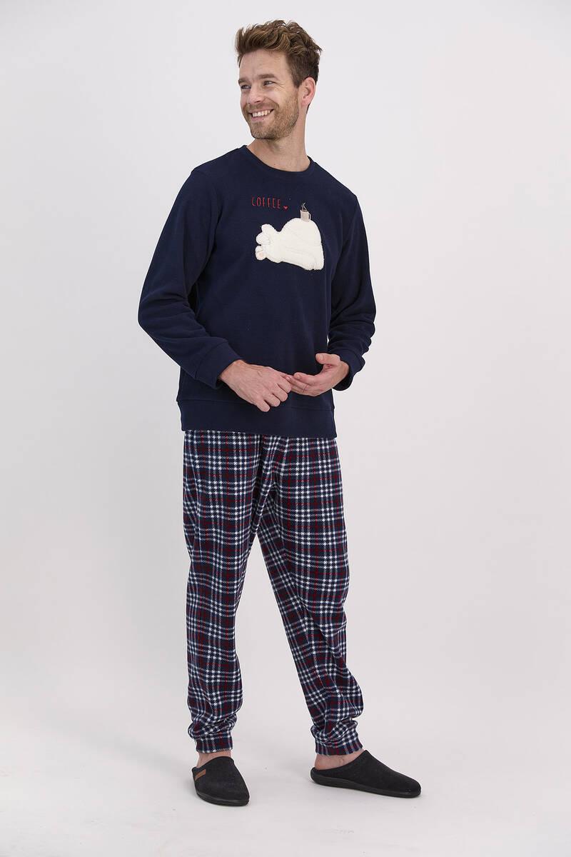 Arnetta - Arnetta Coffee Lacivert Erkek Pijama Takımı