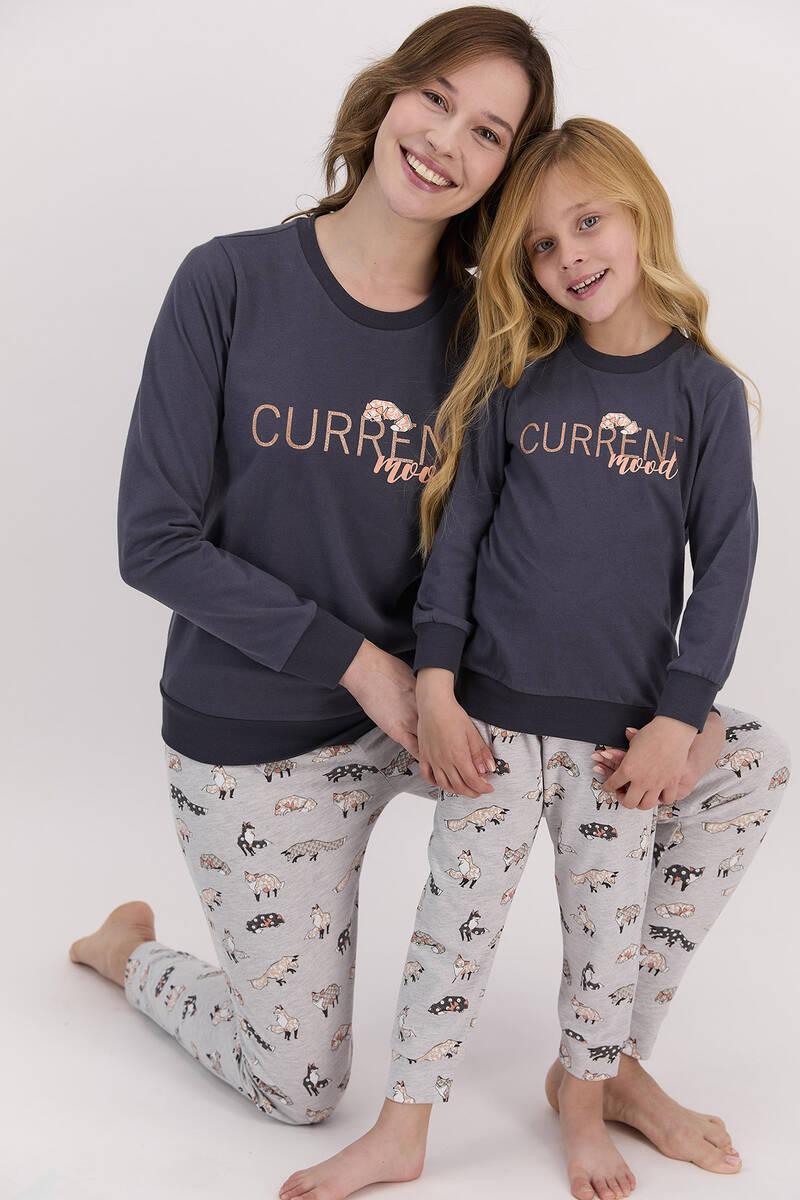 Arnetta - Arnetta Current Mood Antrasit Kadın Uzun Kol Pijama Takımı (1)