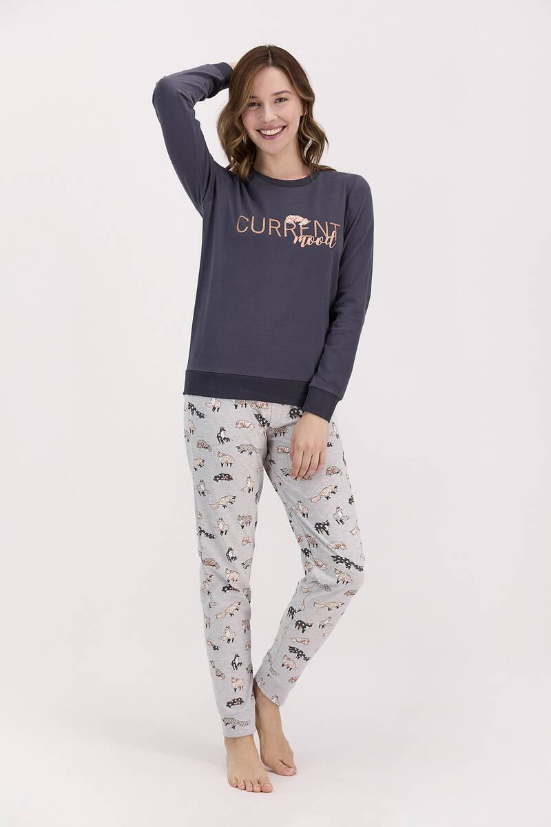 Arnetta - Arnetta Current Mood Antrasit Kadın Uzun Kol Pijama Takımı