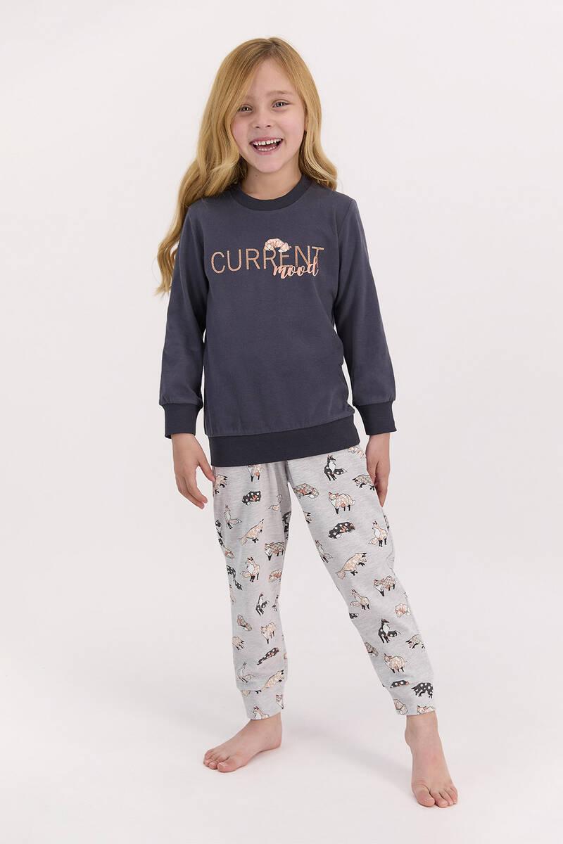 Arnetta - Arnetta Current Mood Antrasit Kız Çocuk Uzun Kol Pijama Takımı