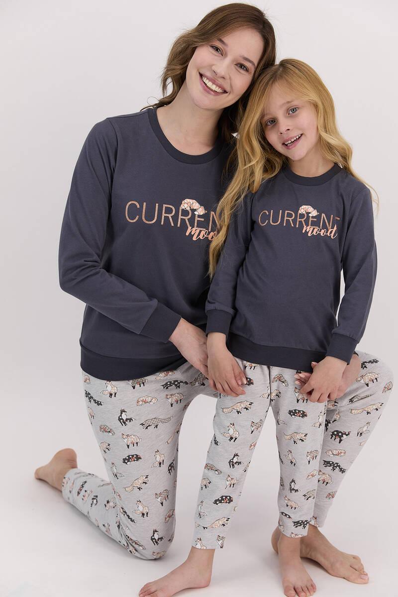 Arnetta - Arnetta Current Mood Antrasit Kız Çocuk Uzun Kol Pijama Takımı (1)