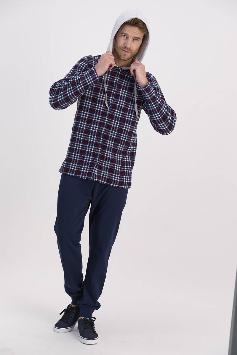 Arnetta - Arnetta Ekoseli Lacivert Erkek Kapşonlu Gömlek Ev Giyim Takımı