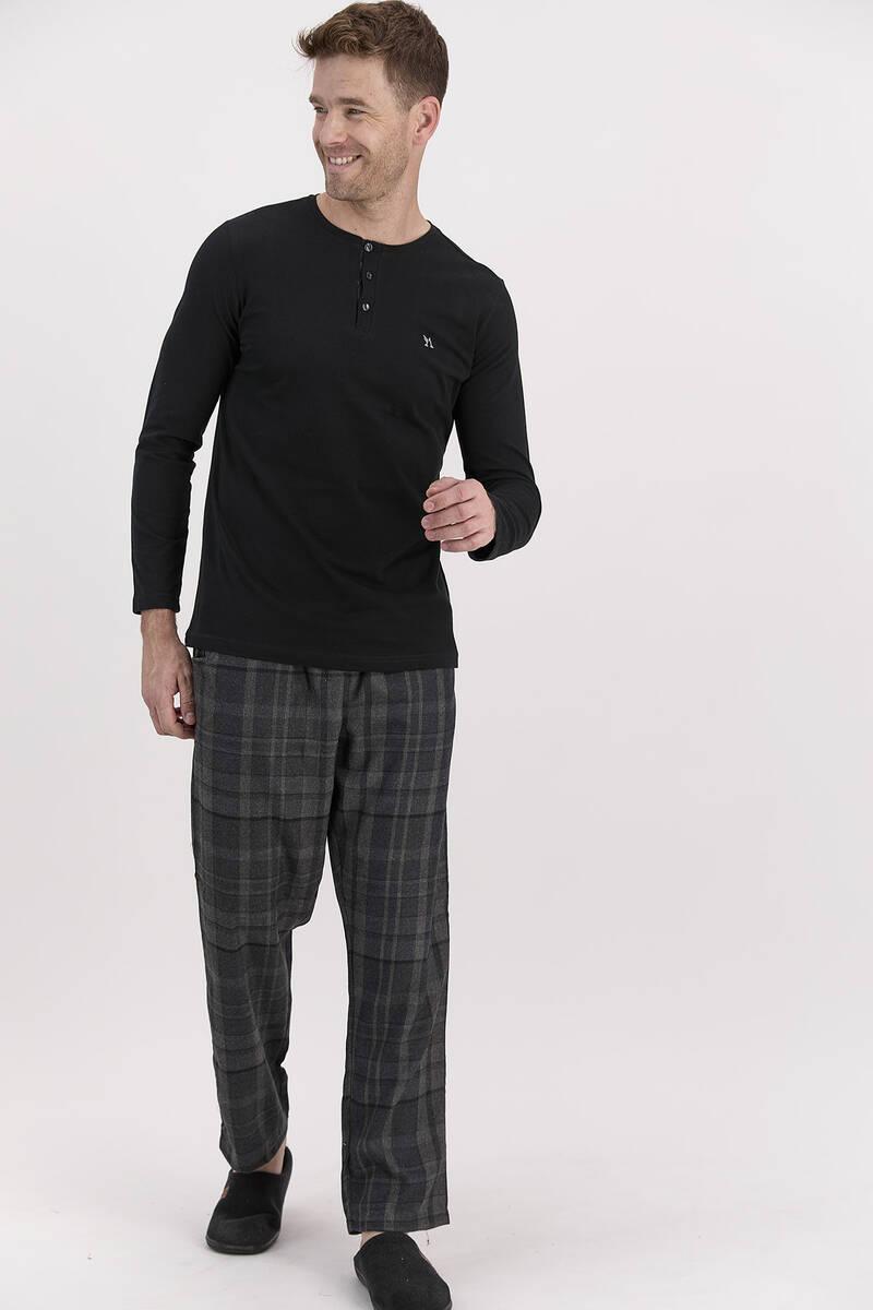 Arnetta - Arnetta Ekoseli Siyah Erkek Uzun Kol Pijama Takımı