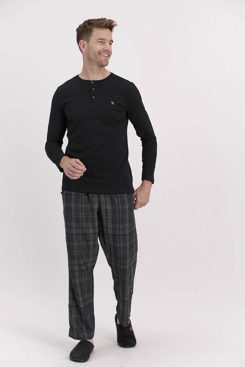 Arnetta - Arnetta Ekoseli Siyah Erkek Uzun Kol Pijama Takımı (1)