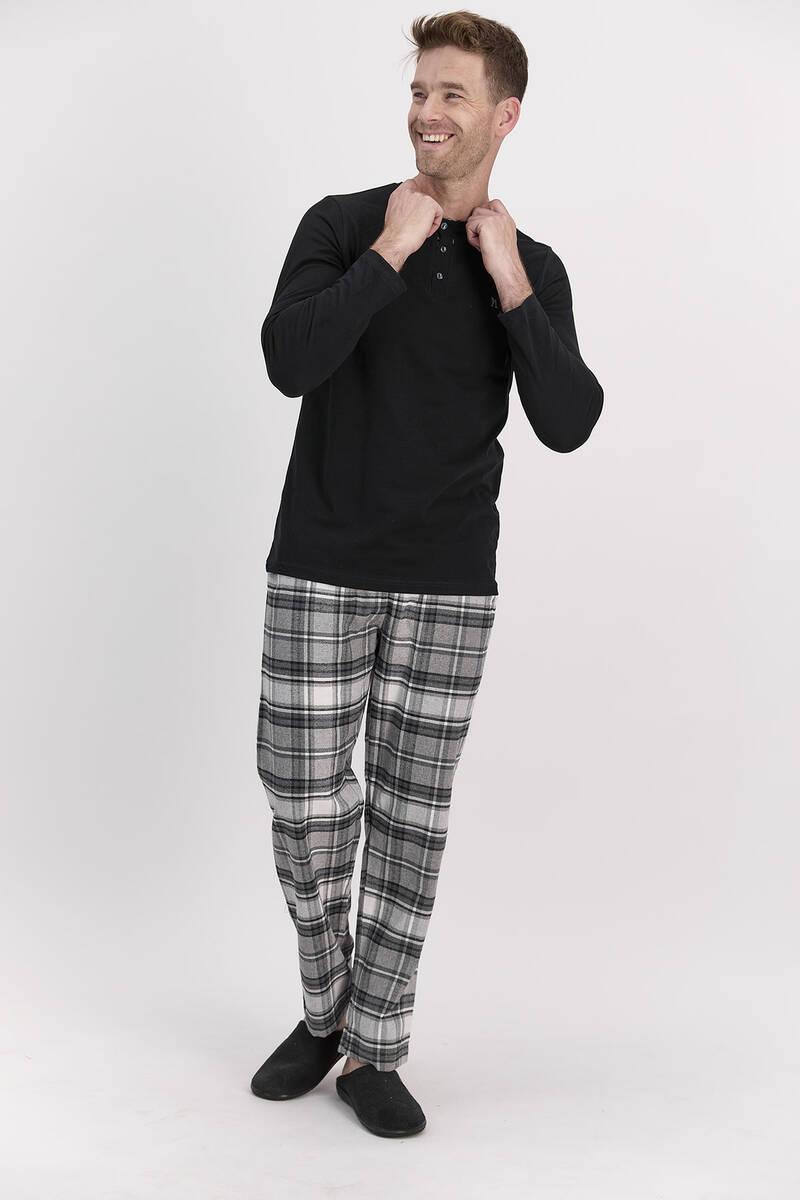 Arnetta - Arnetta Ekoseli Gri Erkek Uzun Kol Pijama Takımı