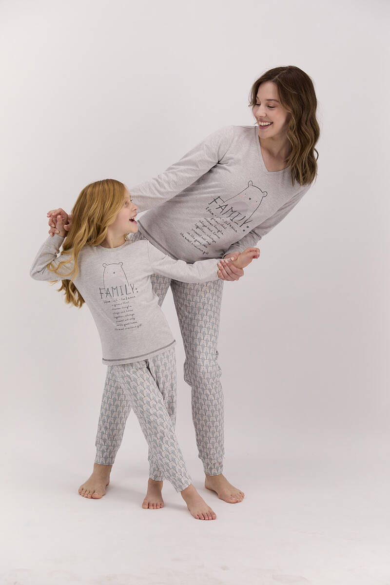 Arnetta - Arnetta Family Bejmelanj Kadın Uzun Kol Pijama Takımı (1)