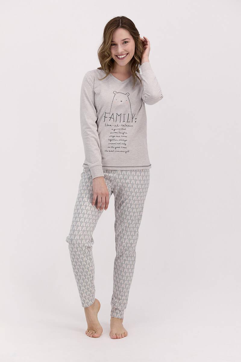 Arnetta - Arnetta Family Bejmelanj Kadın Uzun Kol Pijama Takımı