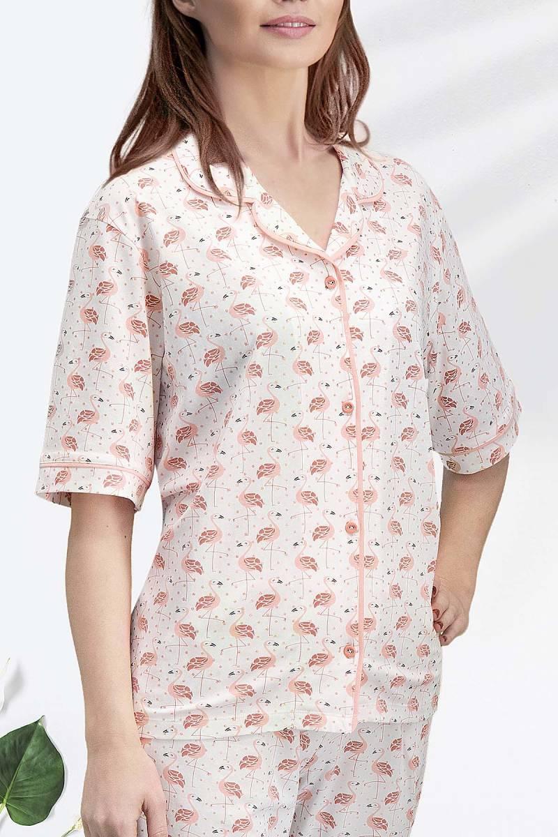 Arnetta - Arnetta Flamingo Krem Kadın Gömlek Pijama (1)