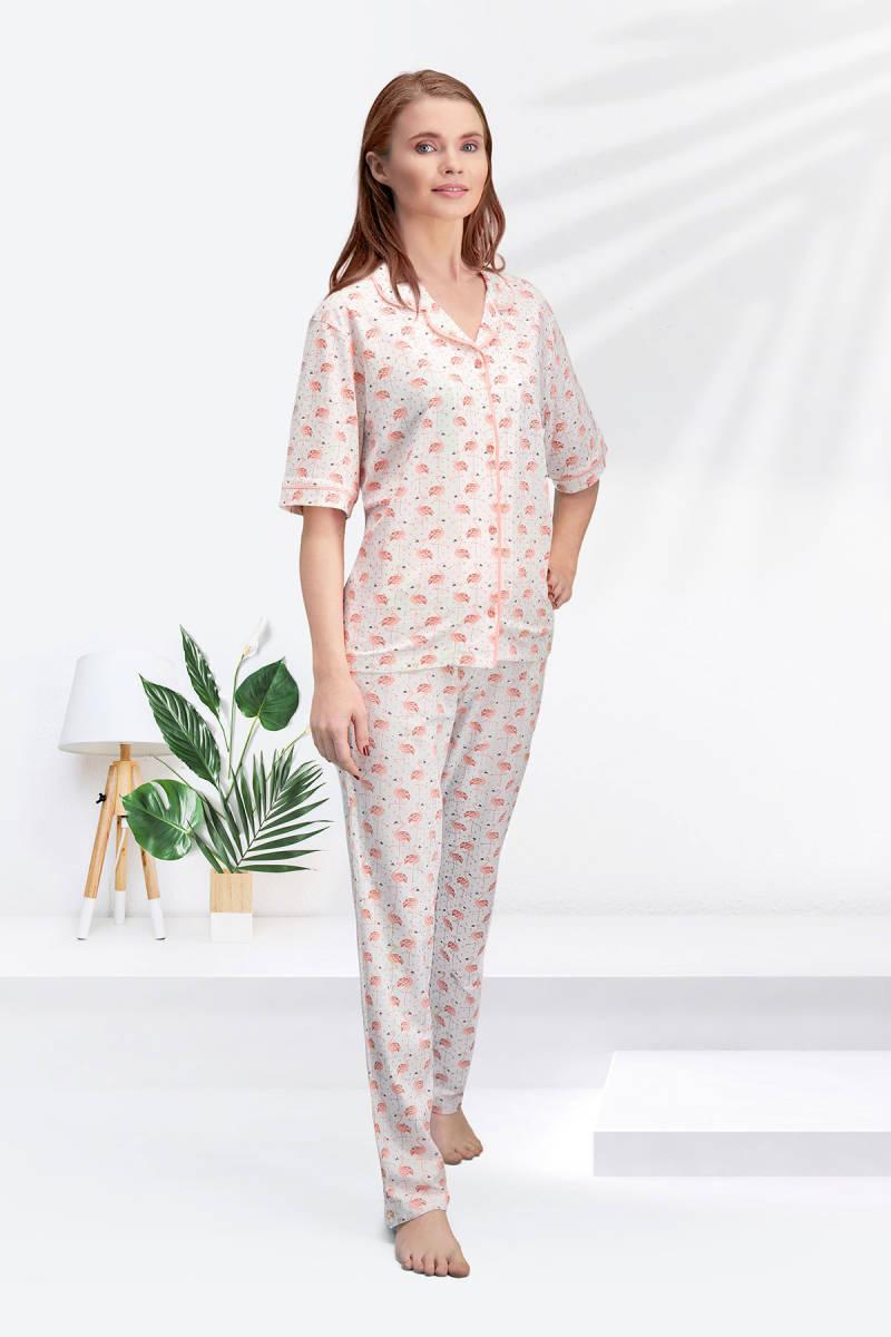 Arnetta - Arnetta Flamingo Krem Kadın Gömlek Pijama