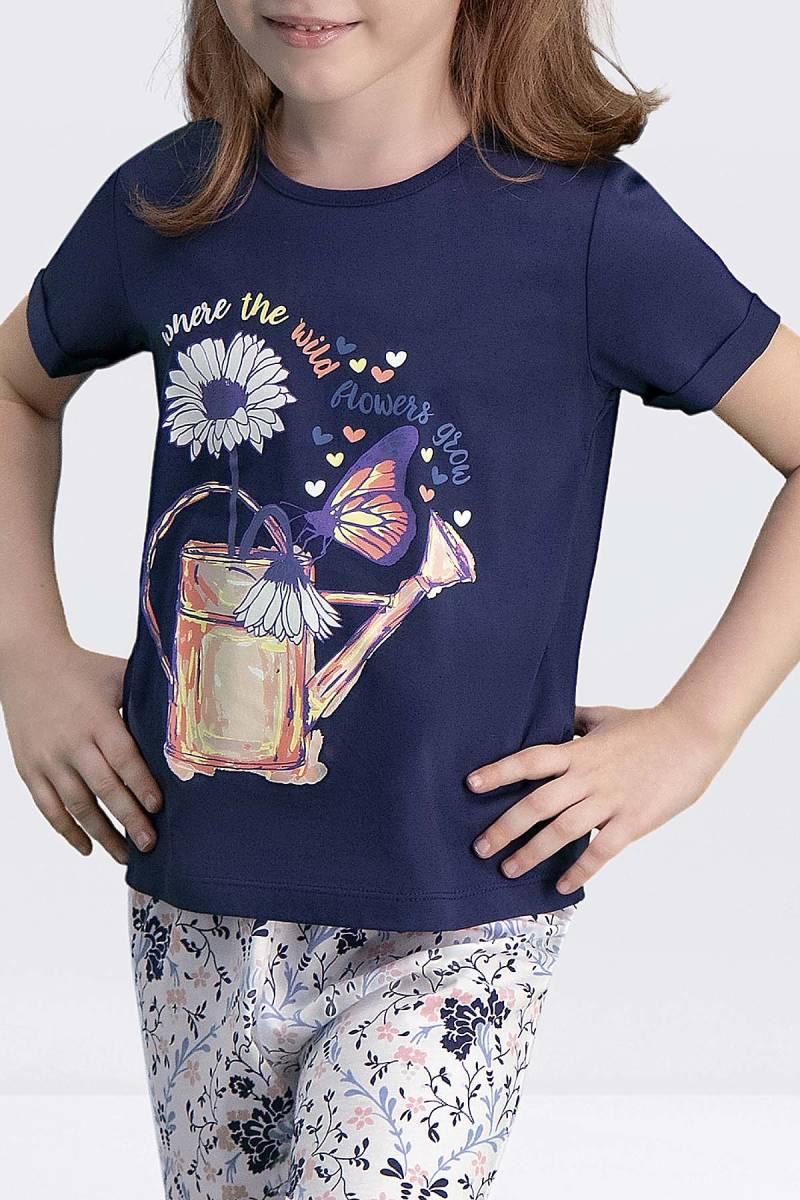Arnetta - Arnetta Flower Grow Lacivert Kız Çocuk Kapri Takım (1)