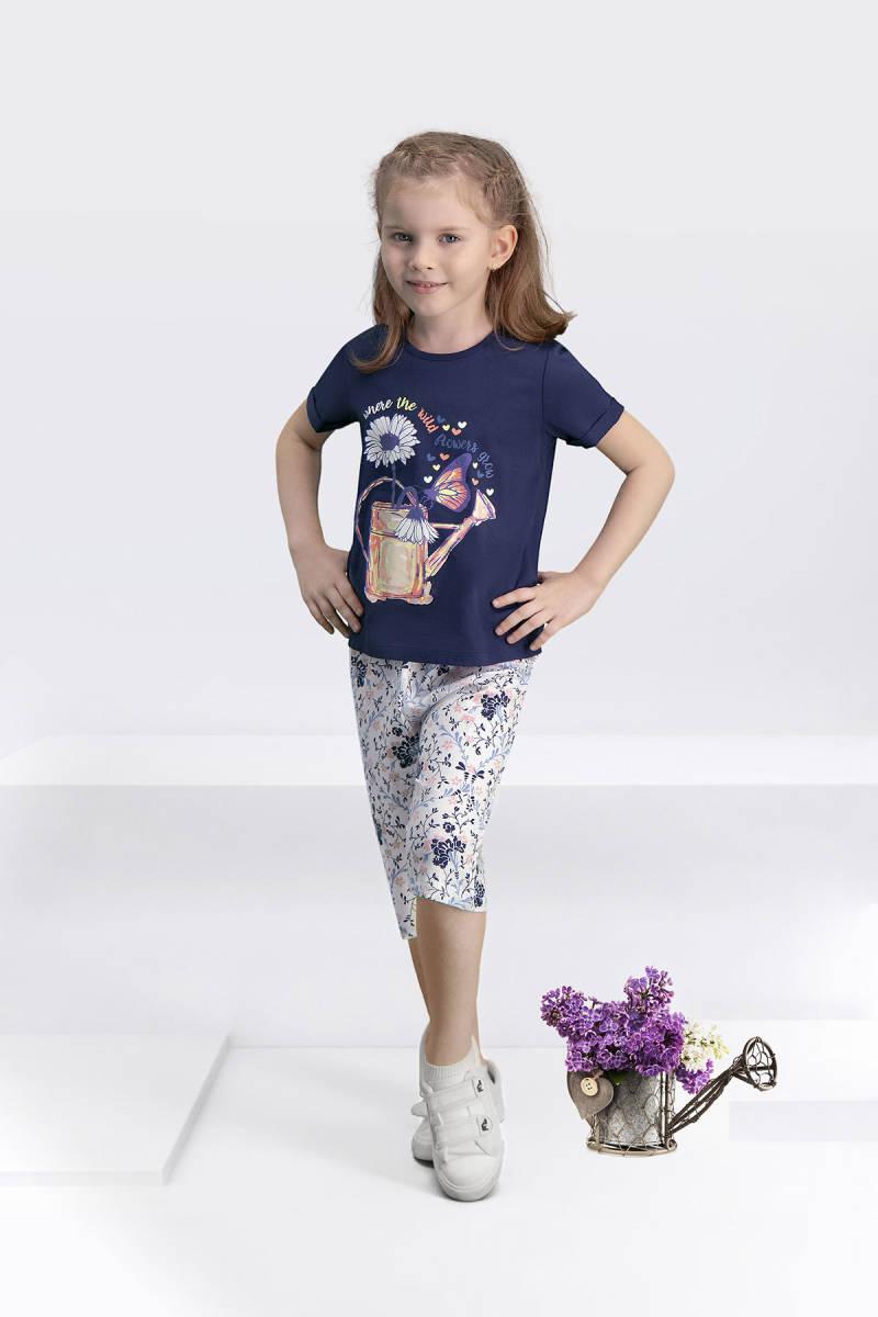 Arnetta - Arnetta Flower Grow Lacivert Kız Çocuk Kapri Takım