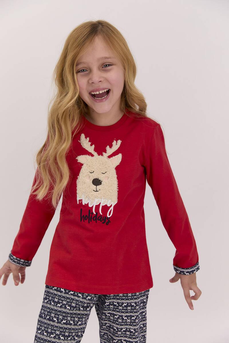 Arnetta - Arnetta Happy Holidays Kırmızı Kız Çocuk Uzun Kol Pijama Takımı