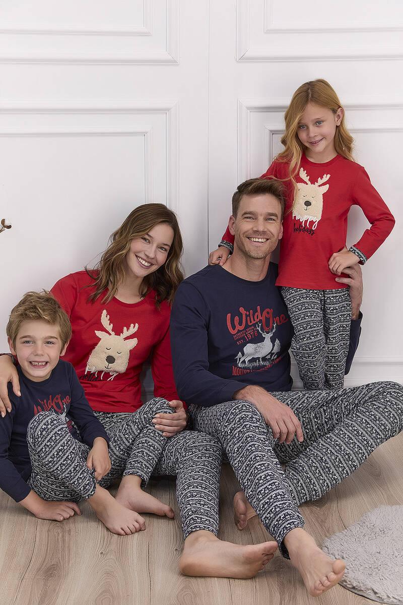 Arnetta - Arnetta Happy Holidays Kırmızı Kız Çocuk Uzun Kol Pijama Takımı (1)