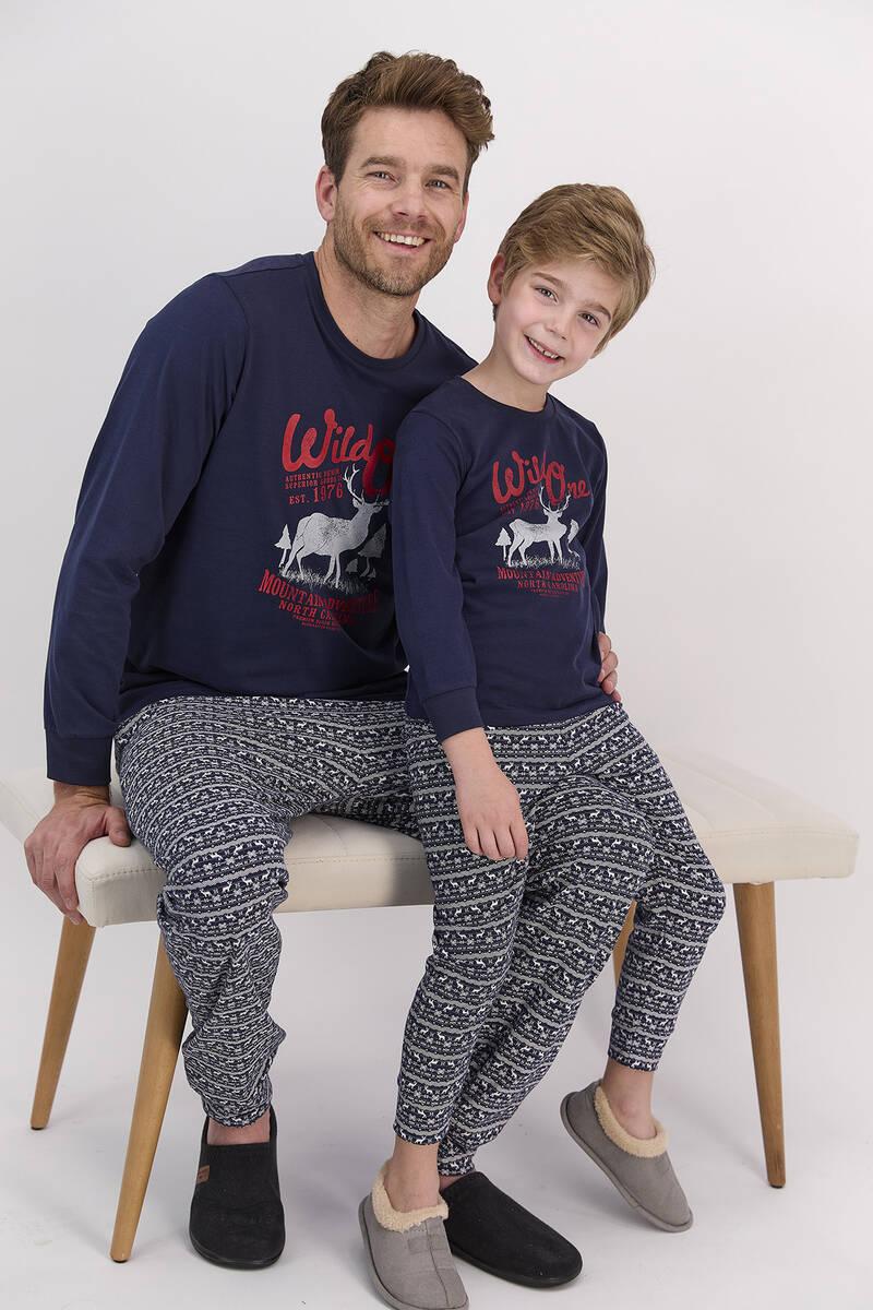 Arnetta - Arnetta Happy Holidays Lacivert Erkek Çocuk Uzun Kol Pijama Takımı