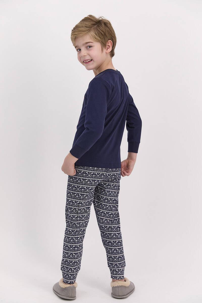 Arnetta - Arnetta Happy Holidays Lacivert Erkek Çocuk Uzun Kol Pijama Takımı (1)