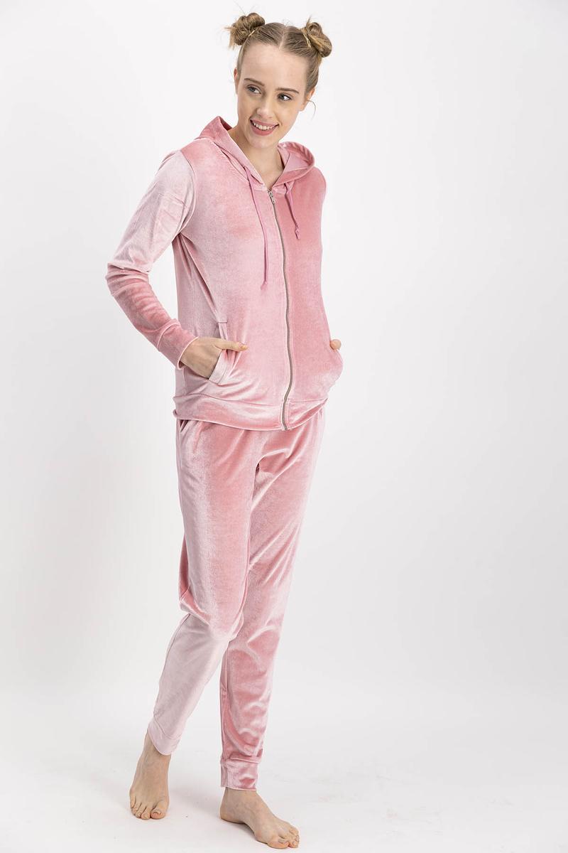 Arnetta - Arnetta Pembe Homewear Kadife Kadın Eşofman Takımıı
