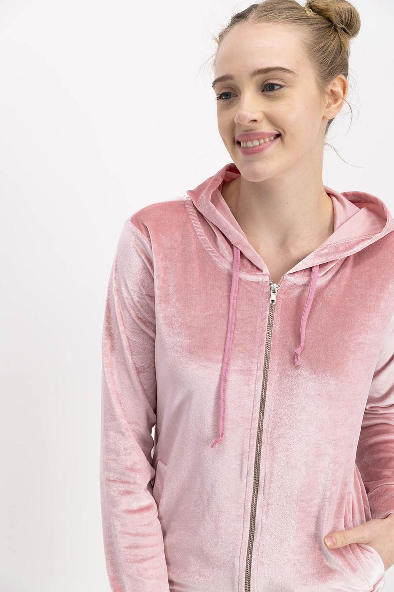 Arnetta - Arnetta Pembe Homewear Kadife Kadın Eşofman Takımıı (1)