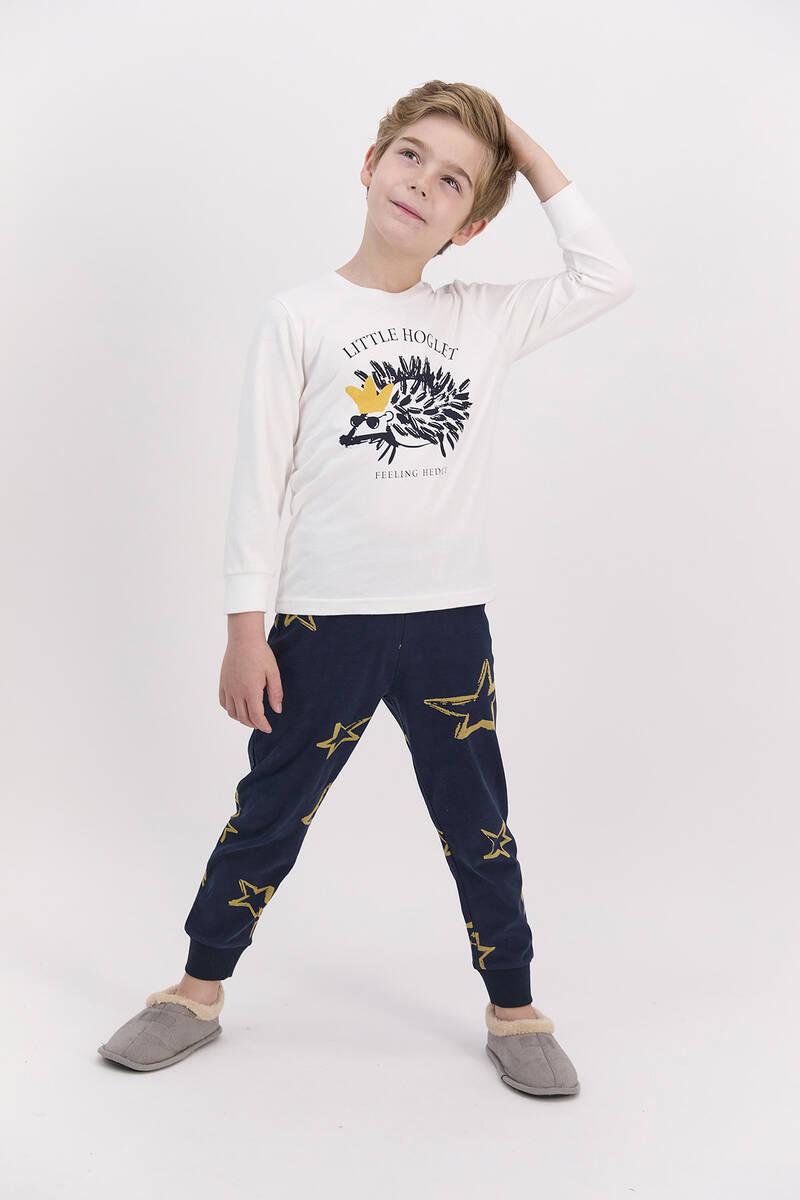 Arnetta - Arnetta Little Hoglet Krem Erkek Çocuk Uzun Kol Pijama Takımı