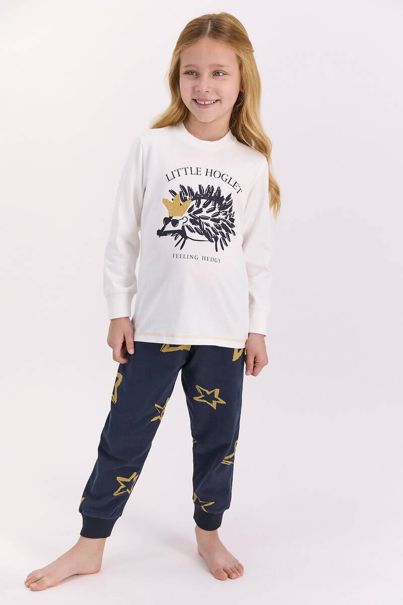 Arnetta - Arnetta Little Hoglet Krem Kız Çocuk Uzun Kol Pijama Takımı