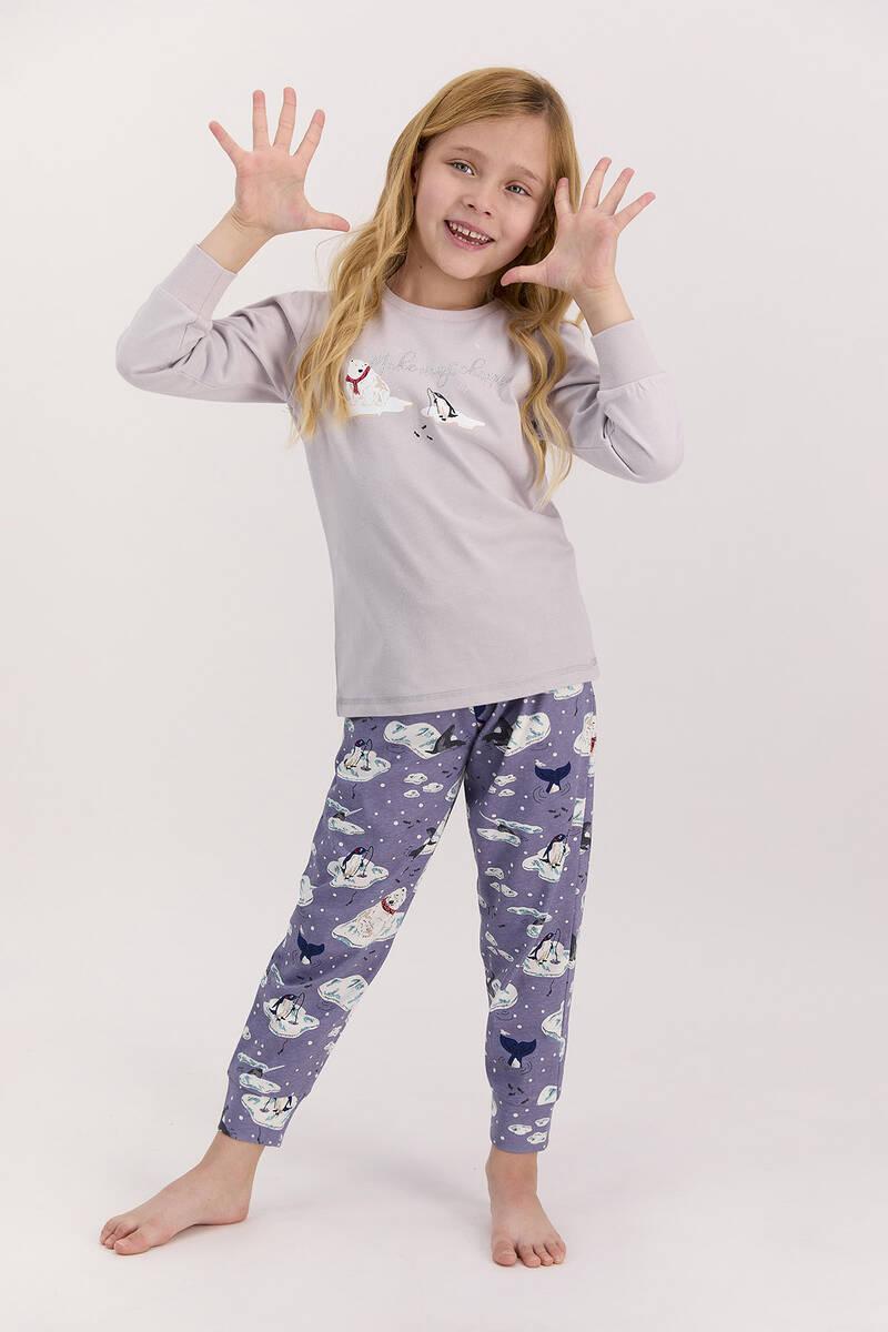 Arnetta - Arnetta Make Magic Happen Açık Gri Kız Çocuk Uzun Kol Pijama Takımı