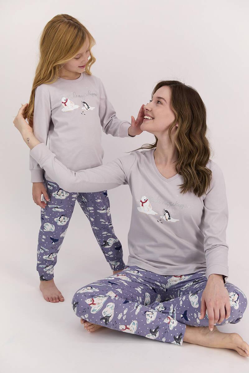 Arnetta - Arnetta Make Magic Happen Açık Gri Kız Çocuk Uzun Kol Pijama Takımı (1)