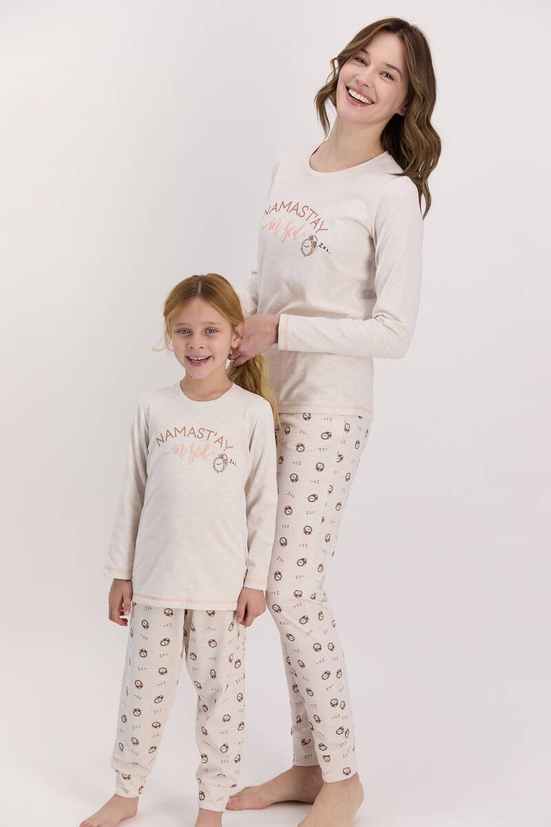 Arnetta - Arnetta Namast'ay In Bed Kremmelanj Kız Çocuk Uzun Kol Pijama Takımı (1)