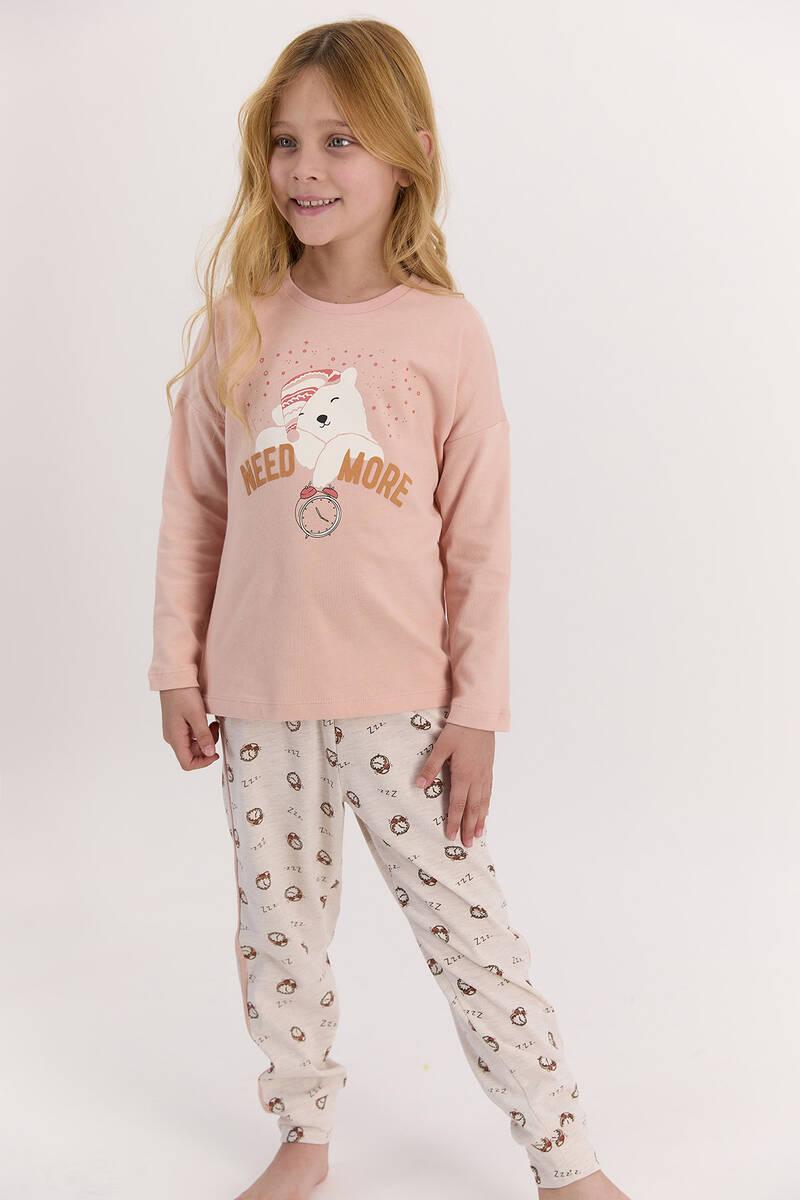 Arnetta - Arnetta Need More Mocha Kız Çocuk Uzun Kol Pijama Takımı