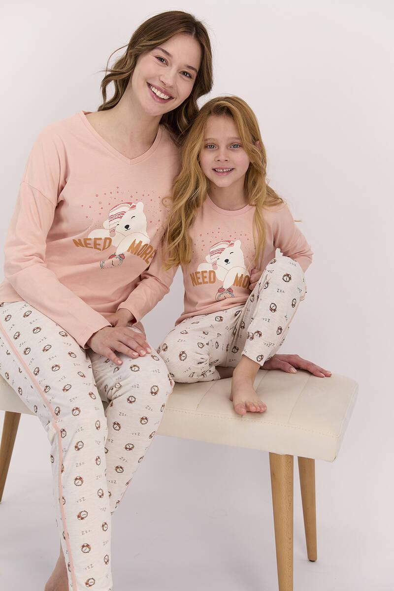 Arnetta - Arnetta Need More Mocha Kız Çocuk Uzun Kol Pijama Takımı (1)